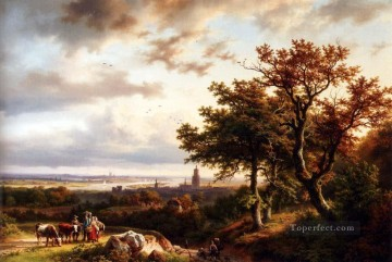 A Panoramic Rhenish Landscape With Peasants Conversing On A Track Barend Cornelis Koekkoek Oil Paintings